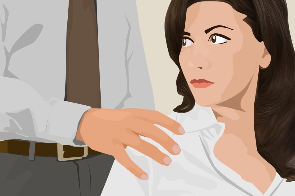 Sexual abuse at office. Male boss putting his hands on female employee's shoulders, young woman